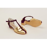 Harmony Gold Leather & Purple Suede